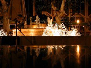 Fountain near restaurant