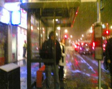 Jimmy at bus stop