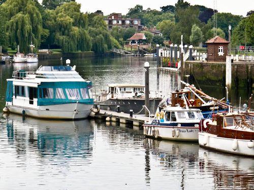 Boats moored at Teddington