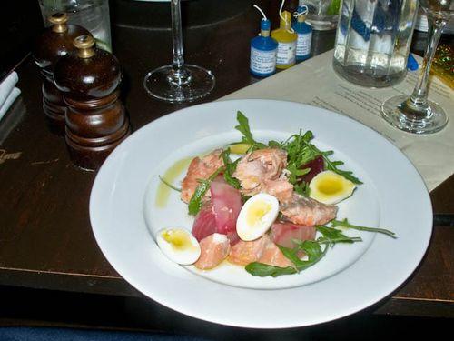 Tea smoked salmon and eggs