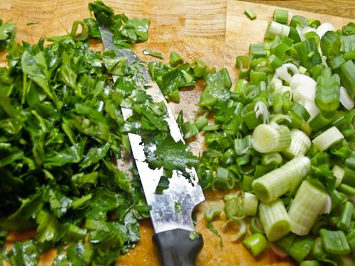 Parsley and spring onions
