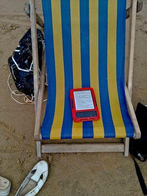 Kindle on deckchair