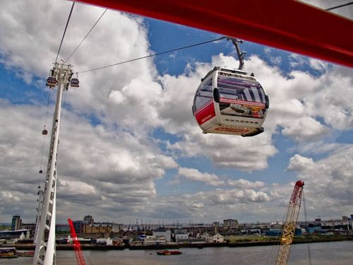 Suspended cable car