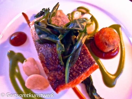 Wild salmon, crab, butter beans, watercress (2)