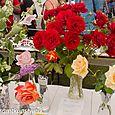 Vase of floribunda roses