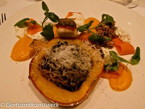Seabass pumpkins chanterelles