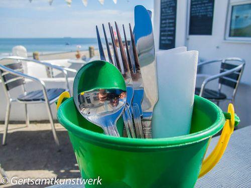 Cutlery in a bucket