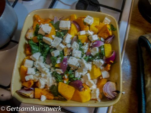 Butternut squash feta and red onion