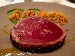 Coriander seared tuna, sesame and lime