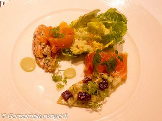 Salmon tartare, with gravadlax, Mersea oysters, beetroot, horseradish and herbs