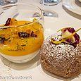 Mandarin pannacotta and cranberry doughnut