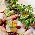 Monkfish ceviche and pomegranate dressing