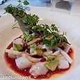 Monkfish ceviche pomegranate dressing