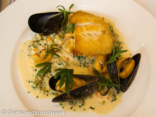 Baked turbot and risotto