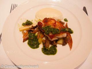 Roast cod, truffle mash,parsley & hazelnut pesto, leeks & chanterelles