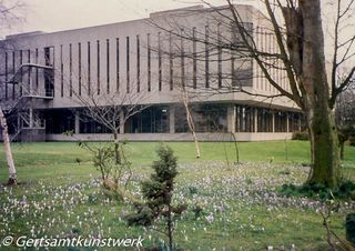 Library and crocuses