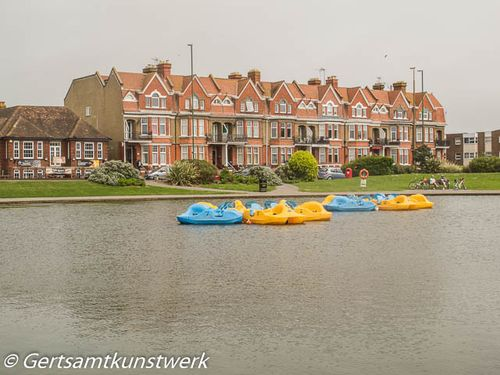 Boating lake and cyclists