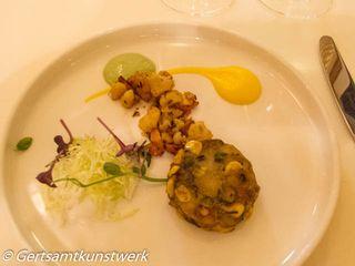 Corn Cake with Spicy Yoghurt Relish, Cauliflower Florets with Saffron Silken Mousseline
