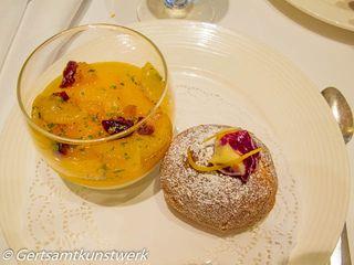 Mandarin pannacotta cranberry doughnut