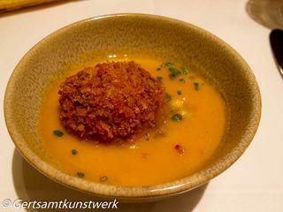 Crepe and fontina arancini, pumpkin veloute