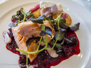 Salmon, smoked eel, watercress, beetroot, horseradish