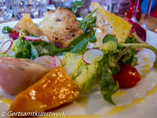 English garden salad and curd cheese