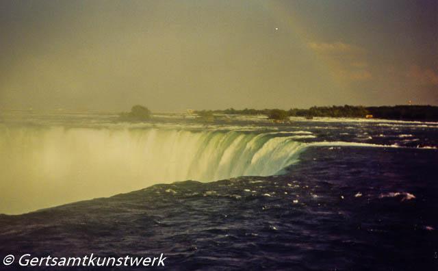 Falls and a faint rainbow