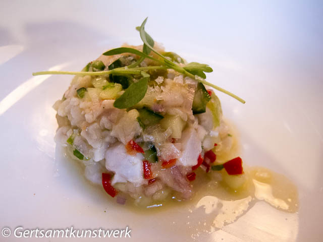 Stone bass ceviche at Hood